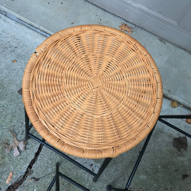Calif-asia 1960s Vintage Danny Ho Fong Iron and Wicker Bar Stools - Set of 6 For Sale - Image 4 of 11