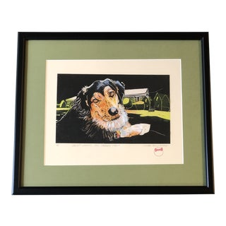 "Original Susan Roseman Dog Wood Block Print "" It's Snarley Snout"" For Sale"