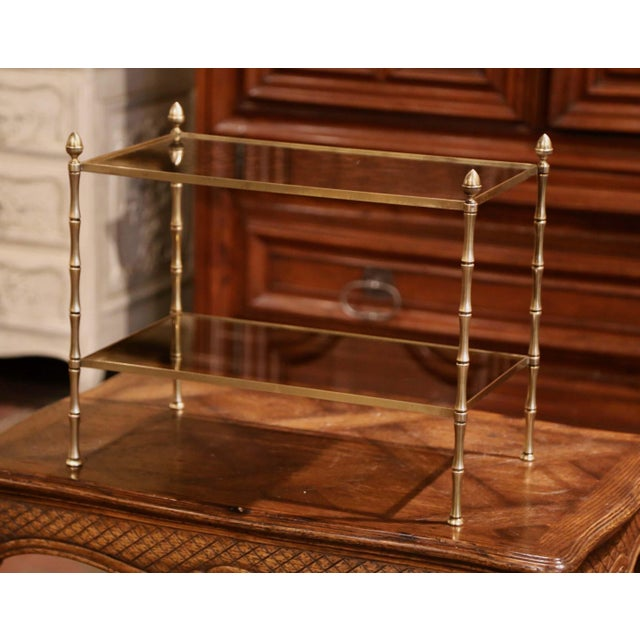 Mid-French Bamboo Brass and Glass Table Style Maison Baguès, Paris For Sale In Dallas - Image 6 of 6