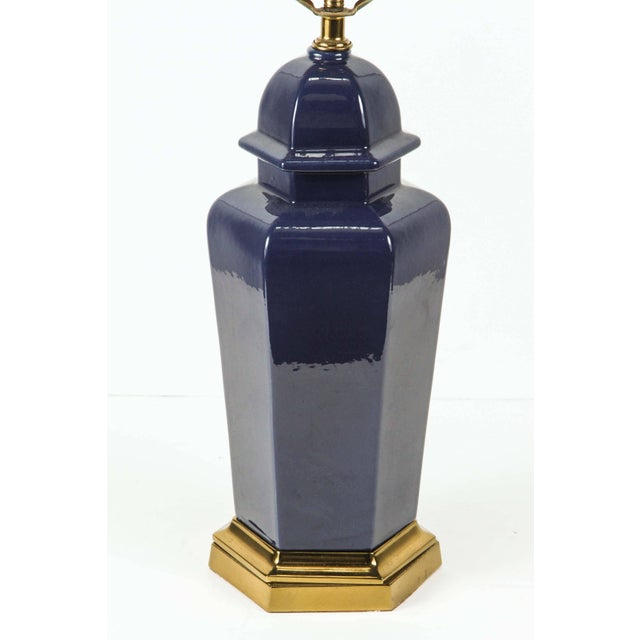Asian Pair of Modern Cobalt Blue Chinese Ginger Jars Table Lamps For Sale - Image 3 of 8