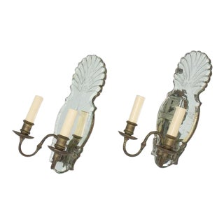 Early 20th Century Mirror Back Venetian Sconces - a Pair For Sale