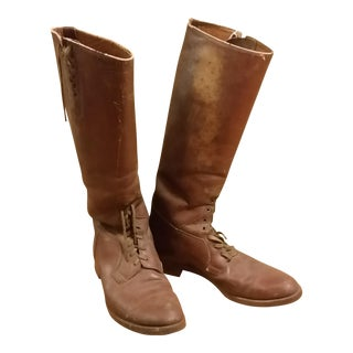 Vintage Brown Leather Equestrian Riding Boots - a Pair