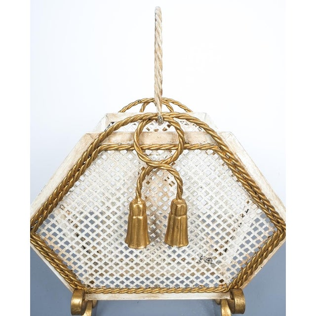 Wrought Iron Magazine Rack Gold White, Germany, Circa 1955 For Sale - Image 6 of 9