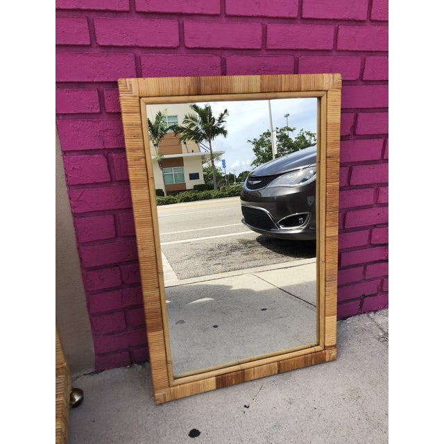 Bamboo Vintage Rectangular Bamboo and Rattan Wall Mirror For Sale - Image 7 of 7
