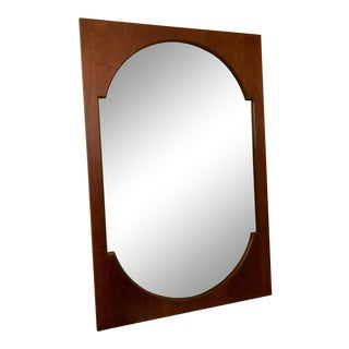 Vintage Brasilia Mid Century Modern Walnut Mirror For Sale