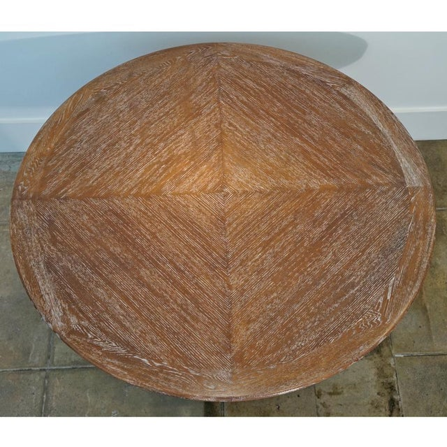 1950s Iron & Oak Ceruse Dining Table For Sale - Image 4 of 5