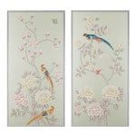 "Jardins en Fleur ""Chatsworth House"" Chinoiserie Hand-Painted Silk Diptych Framed in Burnished Silver by Simon Paul Scott - a Pair"