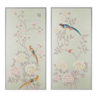 "Jardins en Fleur ""Chatsworth House"" Chinoiserie Hand-Painted Silk Diptych Framed in Burnished Silver by Simon Paul Scott - a Pair For Sale"