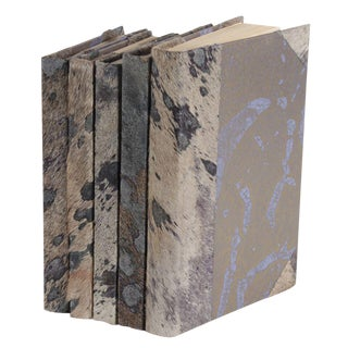 Metallic Hide Grey Books - Set of 5 For Sale