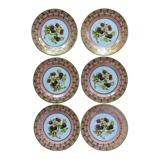Decorative Metal Tole Plates With Blue and Pink and Gold Details and Fruit Motif - Set of Six For Sale