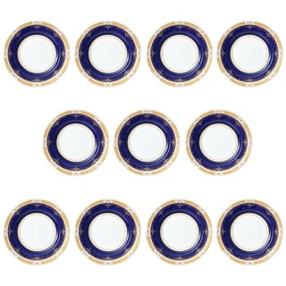 Antique Cobalt and Gilt Encrusted Dinner Plates by Coalport, Set of 11 Custom For Sale