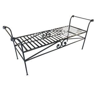 Scrolling Black Wrought Iron Chaise Lounge, Bench For Sale