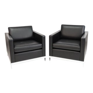 Martin Brattrud Black Leather Club Chairs - a Pair