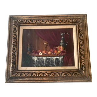 Vintage Still Life Fruit Oil Painting- Signed & Framed