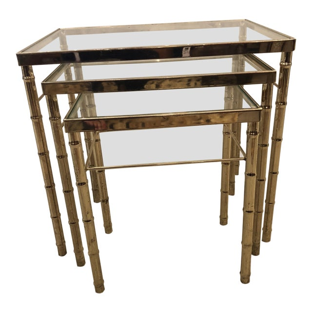 Mid-Century Modern Faux Bamboo Brass/Glass Nesting Tables - Set of 3 For Sale