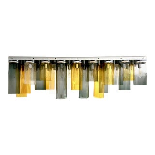 Handblown Cylinder Murano Glass Flush Mount Chandelier For Sale
