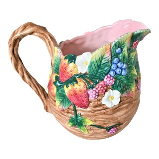 Fitz & Floyd Hand Painted Strawberry Pitcher For Sale