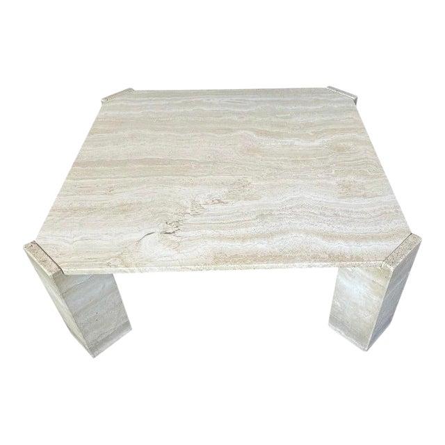 Postmodern Italian Travertine Coffee Table For Sale