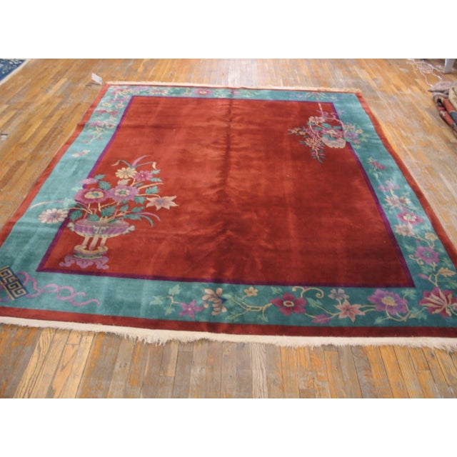 """Antiique Chinese Art Deco Rug 8'0"""" X 9'8"""" For Sale - Image 4 of 6"""