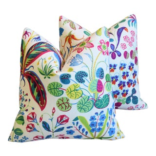 "Designer Josef Frank Floral ""Under Ekatorn"" Linen Feather/Down Pillows 18"" Square - Pair For Sale"