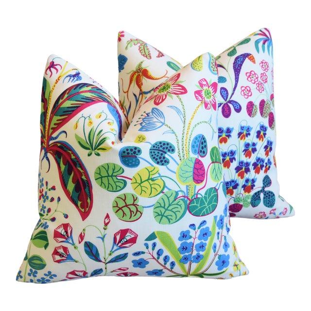 "Designer Josef Frank Floral ""Under Ekatorn"" Linen Feather/Down Pillows 18"" Square - Pair For Sale"