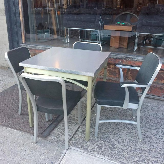 GoodForm 1940s Mid-Century Modern Brushed Aluminium Dining Set - 5 Pieces For Sale - Image 4 of 10