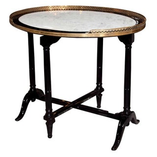 French Marble Top Ebonized Tilt Top Table For Sale