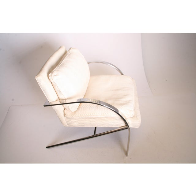 Contemporary Vintage Chrome Upholstered Arm Chair by Bernhardt Flair For Sale - Image 3 of 11