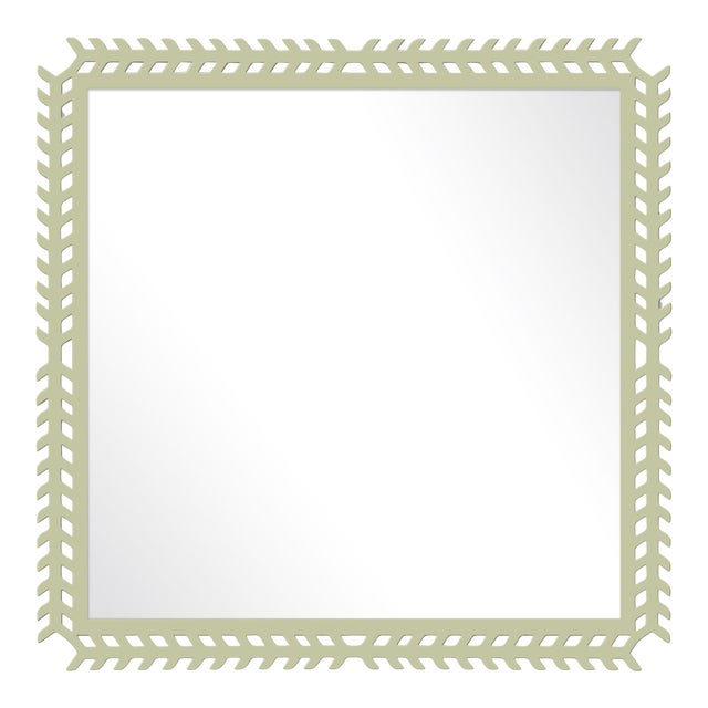 Fleur Home x Chairish Toulouse Trellis Mirror in Cooking Apple Green, 24x24 For Sale