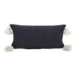 Boho Chic Black and Ecru Pillow For Sale