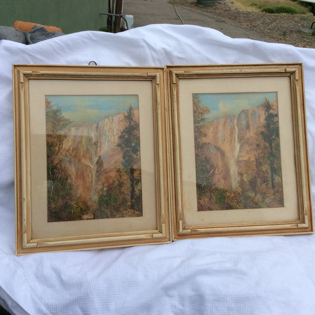 Great looking late Victorian moss picture painting art work views of Yosemite national park. The frames have been...