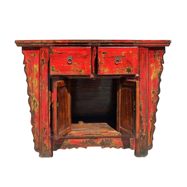 Red Chinese Rustic Rough Wood Distressed Red Side Table Cabinet For Sale - Image 8 of 9
