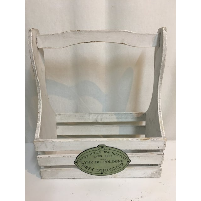 Wood white chalky paint finish garden tool handled basket with French metal detail.