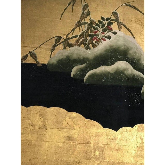 19th Century Four Panel Kano School Chinese Style Folding Screen or Room Divider For Sale - Image 10 of 13
