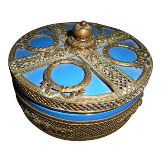 Beautiful Azure Blue and Copper Overlay Box For Sale