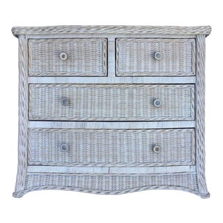 Vintage Curved Serpentine Draped Wicker Chest of Drawers For Sale
