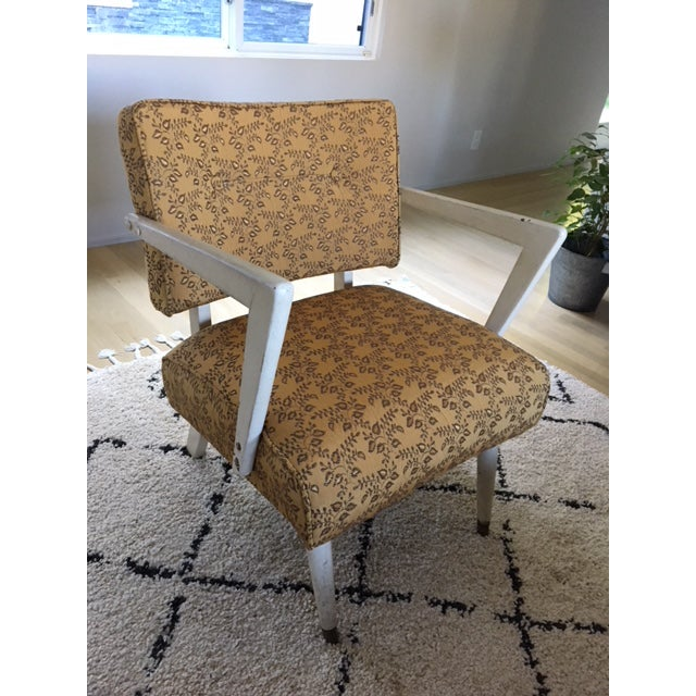 1950s Vintage Mid-Century Upholstered Arm Chair For Sale - Image 5 of 8