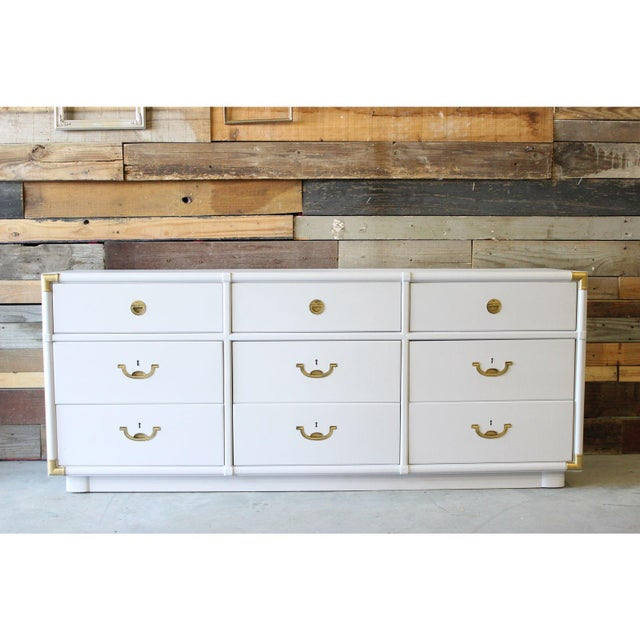 Drexel Vintage Drexel Campaign Dresser Lacquered in White For Sale - Image 4 of 5