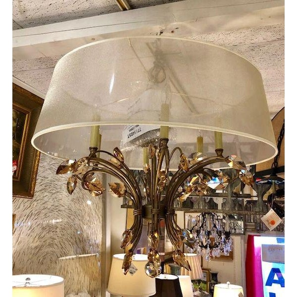 2010s Bronze Chandelier With Amber Crystals and a Transparent Shade For Sale - Image 5 of 5