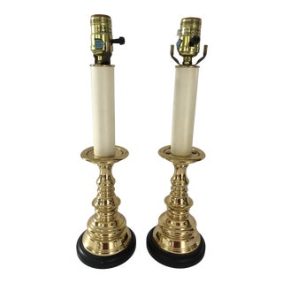 Baldwin Solid Brass Candlestick Lamps - a Pair For Sale