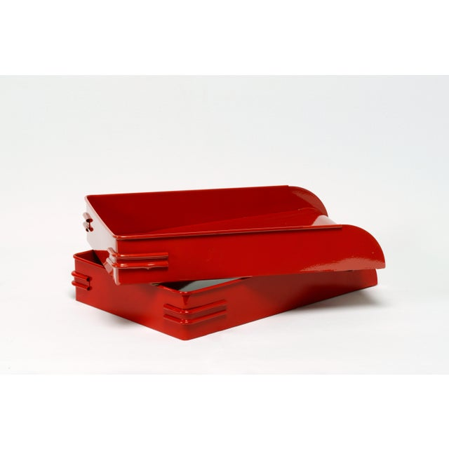 1930s Steel Letter Tray Refinished in Gloss Red, 2 Available For Sale In Los Angeles - Image 6 of 7