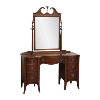 Dark Wood Vanity With Mirror