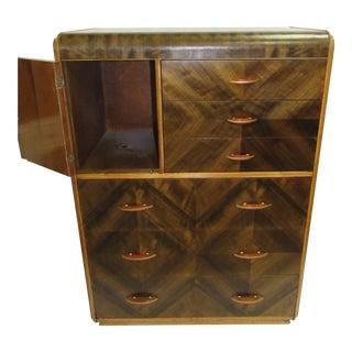 1920s Art Deco Highboy Waterfall Dresser For Sale
