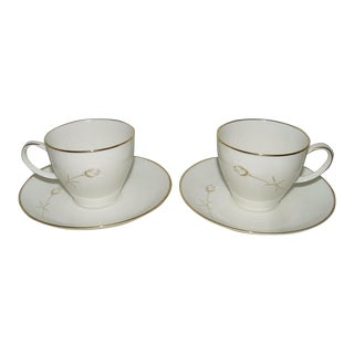 Vintage Noritake Nora Teacup & Saucer Sets - a Pair (4 Pieces) For Sale