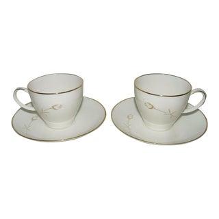 Vintage Noritake Nora Teacup & Saucer Sets - Service for 2 For Sale