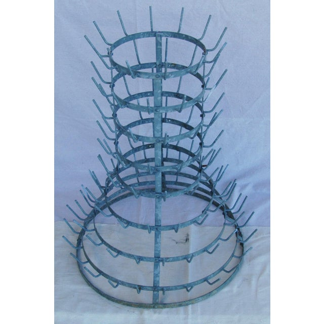Early 1900s French Zinc Bottle Drying Rack - Image 5 of 9