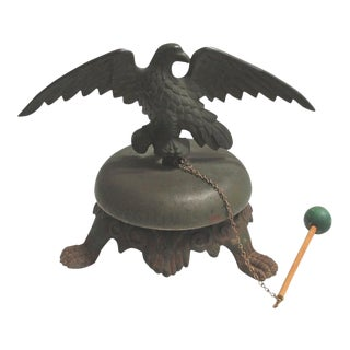 19th Century Bell on Iron Base With Bronze Eagle on Top For Sale