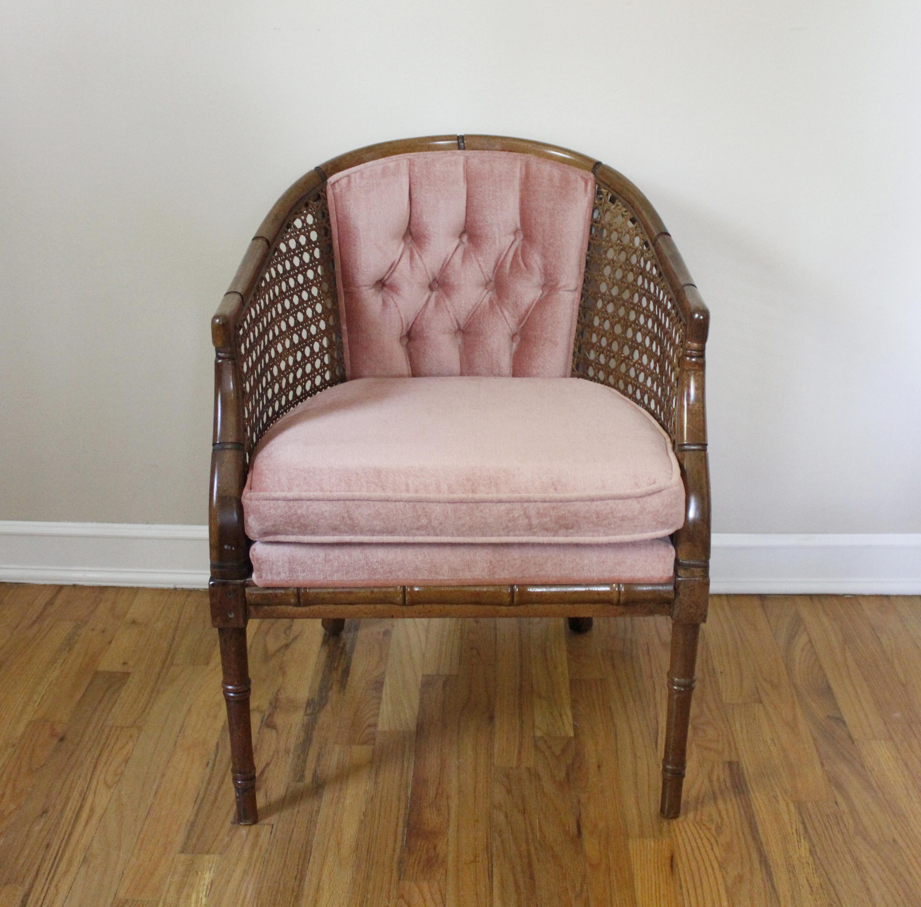 Mid Century Cane U0026 Blush Velvet Barrel Back Chair Vintage   Image 2 Of 10
