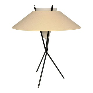 Vintage Gerald Thurston for Lightolier Mid Century Tripod Lamp and Shade For Sale
