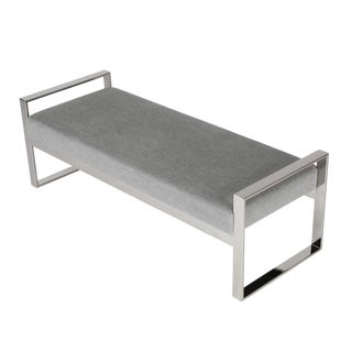 CHROME-FRAME BENCH IN THE STYLE OF MILO BAUGHMAN